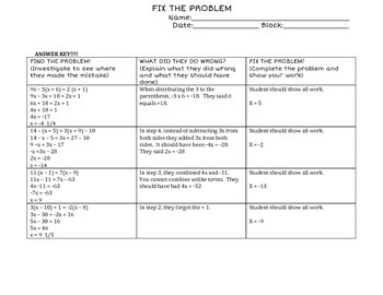 "Multi step Equations ""Fix the Problem"""