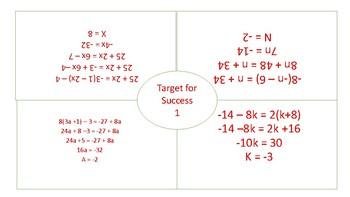 Multi-step Equations (Target 4 Success)