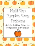 Multi-step Fall Pumpkin Problems Worksheet Variables
