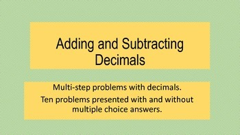 Multi-step Problems Adding and Subtracting Decimals