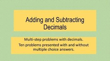 Multi-step Problems Adding and Subtracting Decimals