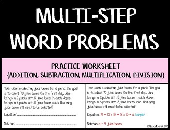 Multi-step Story Problems Worksheet