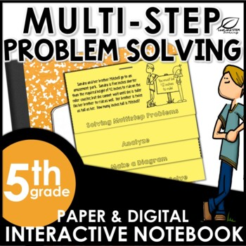 Multi-step Word Problems Solving Strategies Interactive Notebook Set