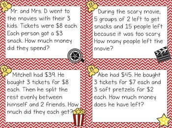 Multi-step Word Problems at the Movies!