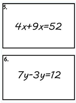 Multi-step equation task cards