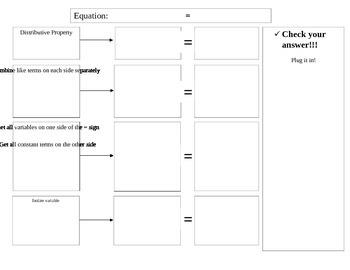 Multi step equations graphic organizer