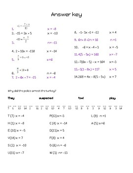 Multi step equations riddle