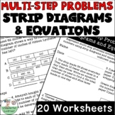 Multistep problems with Strip Diagrams & Equations Worksheets No Prep 4th Grade