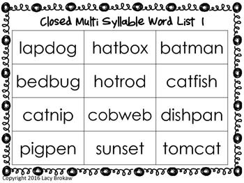 Multi-syllabic Closed Syllable Phonics Games