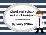 Multi-syllabic Closed Syllable Phonics Word lists and Worksheets