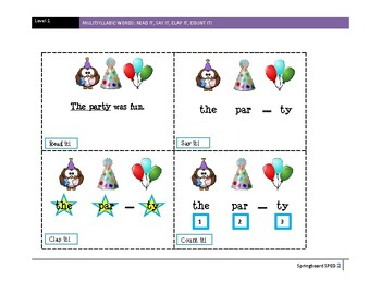 Multi-syllabic Word Activity: Read it, Say it, Clap it, Count it!