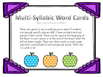 Multi-syllabic word cards open and closed