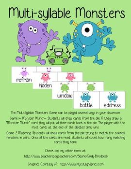 Multi-syllable Word Monsters
