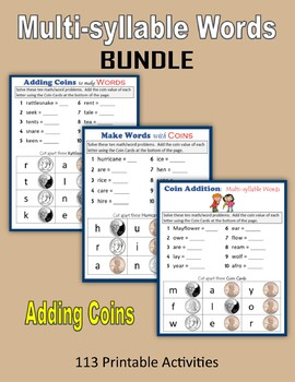 Multi-syllable Words (Coins) BUNDLE