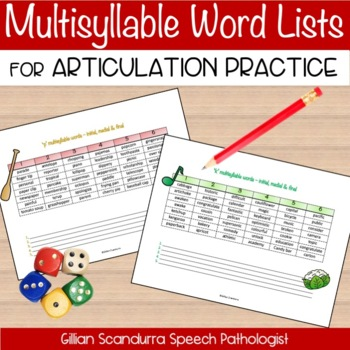 Multi-syllable Words for Articulation Practice