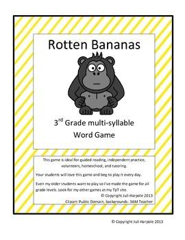 Word work  Multi-syllable word game - Rotten Bananas