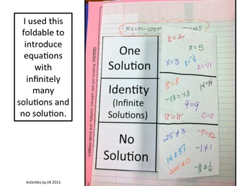 Multi-Step Equations with No Solution and Identity