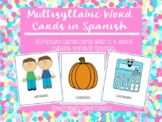 MultiSyllabic Words in Spanish - 24 Cards