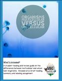 Multicellular versus Unicellular Organisms for Middle School