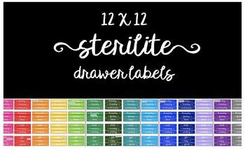 Multicolor 12x12 Sterilite Drawer Labels