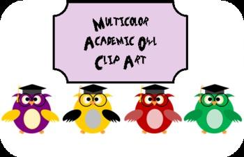 Multicolor Academic Owl Clip Art