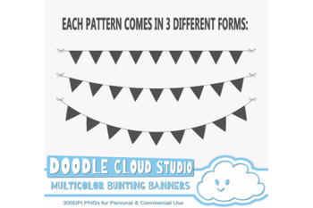 Multicolor Bunting Banners Clip arts Pack, Colorful Rainbow Bunting Flags