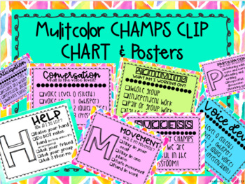 Champs Posters and Clip Chart {Multicolor} with Voice Level Posters