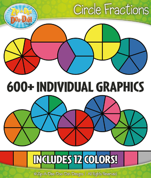 Multicolor Circle Fractions Clipart Set – Includes 600+ Graphics!