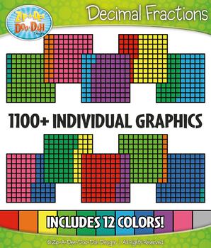 Multicolor Decimal Grid Fractions Clipart Set – Includes 1100+ Graphics!