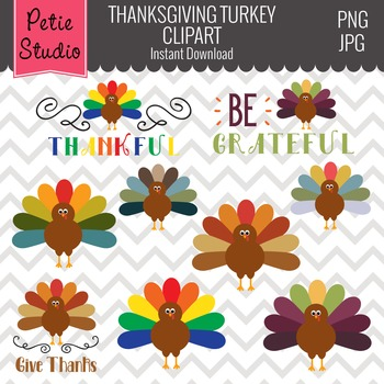 Multicolor Feathers Turkey Clipart, Thanksgiving Clipart - FALL104