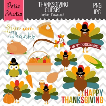Multicolor Feathers Turkey Clipart, Thanksgiving Clipart - FALL105