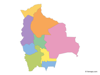 Multicolor Map of Bolivia with Departments