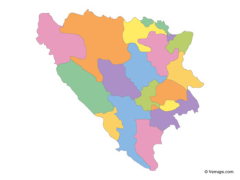 Multicolor Map of Bosnia and Herzegovina with Cantons