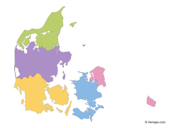 Multicolor Map of Denmark with Regions