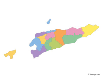 Multicolor Map of East Timor with Municipalities