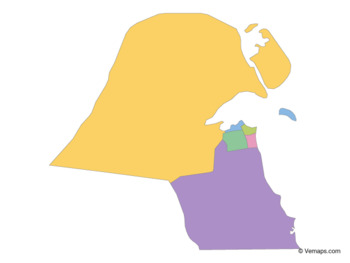 Multicolor Map of Kuwait with Governorates