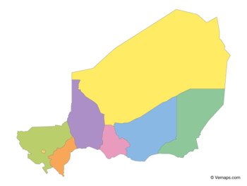 Multicolor Map of Niger with Regions