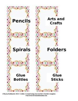 Multicolor Polka Dots Labels