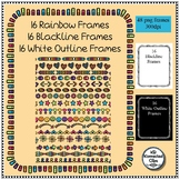 Multicolor Rainbow Frames Includes Blackline and White Out