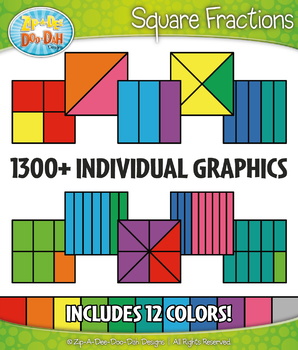 Multicolor Square Fractions Clipart Set – Includes 1300+ Graphics!