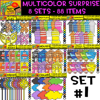Multicolor Surprise Bundle - 8 sets - 88 Items - #Set 1