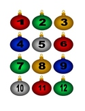 Multicolored Christmas Ornament Numbers for Calendar or Counting Activity
