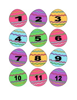 Multicolored Easter Egg Numbers for Calendar or Counting Activity