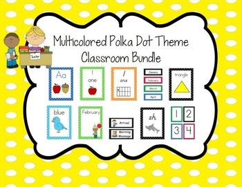 Multicolored Polka Dot Theme Classroom Bundle