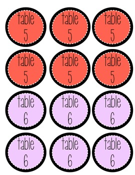 Multicolored Table Numbers (1-10)