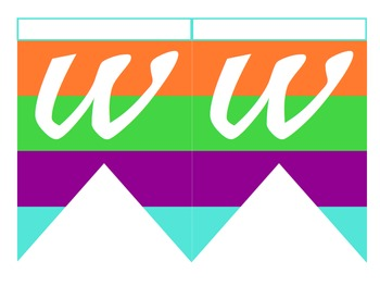 Multicolored Word Wall Pennant Banner & Letters