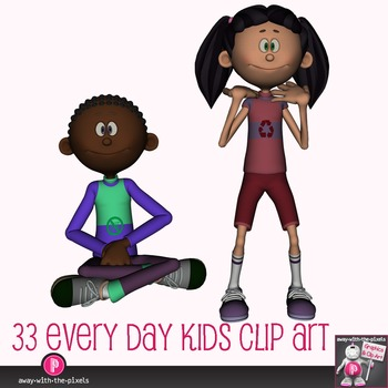 Multicultral Kids Clip Art - Casual Actions 33 Color, 33 Black and White Images