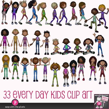 Multicultral Kids Clip Art - Casual Actions 33 Color, 33 B