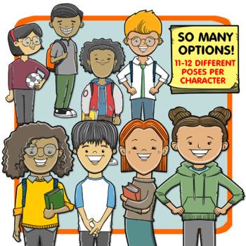 Multicultural Big Kids - Older School Kids Clip Art