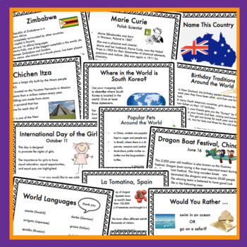 Around the World Fact Cards: The Global Minute